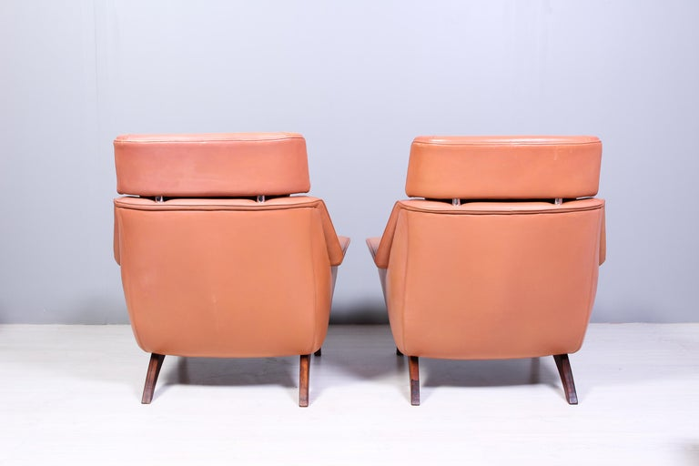Leather & Rosewood Lounge Chairs and Ottoman by Werner Langenfled, Denmark 1960s For Sale 4