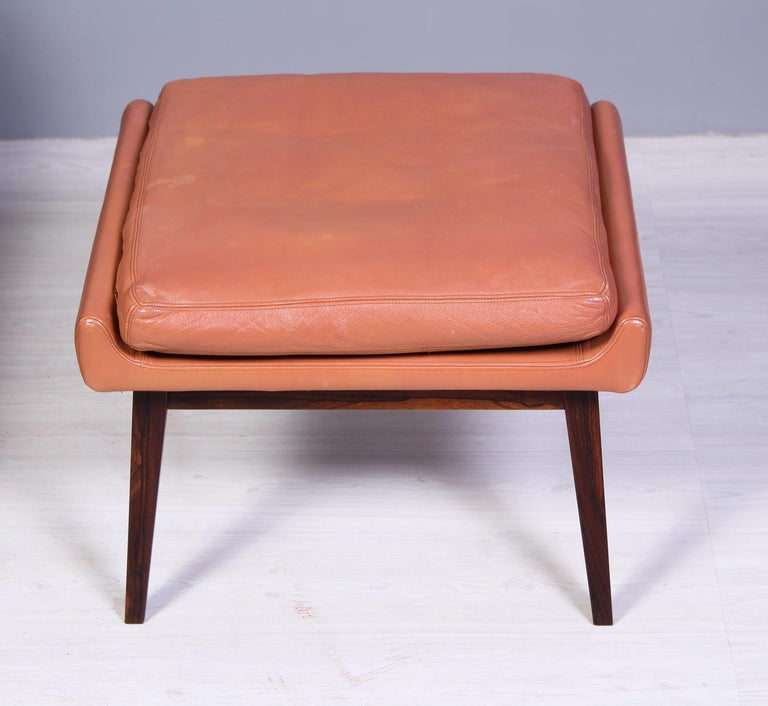 Leather & Rosewood Lounge Chairs and Ottoman by Werner Langenfled, Denmark 1960s For Sale 8