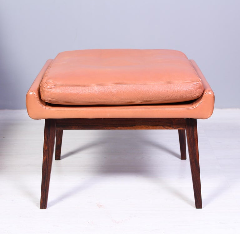 Leather & Rosewood Lounge Chairs and Ottoman by Werner Langenfled, Denmark 1960s For Sale 9