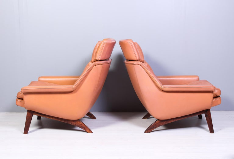 Scandinavian Modern Leather & Rosewood Lounge Chairs and Ottoman by Werner Langenfled, Denmark 1960s For Sale