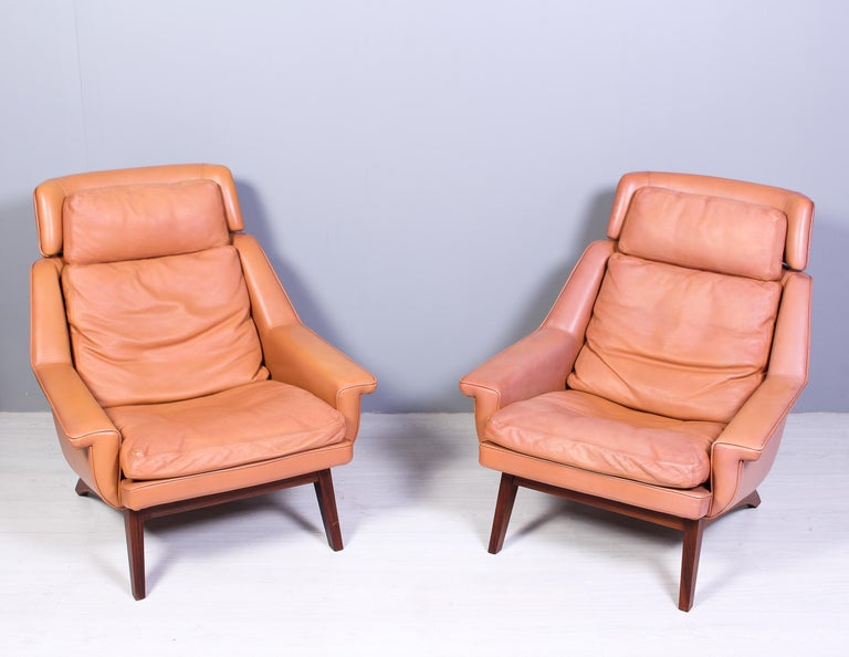 Danish Leather & Rosewood Lounge Chairs and Ottoman by Werner Langenfled, Denmark 1960s For Sale