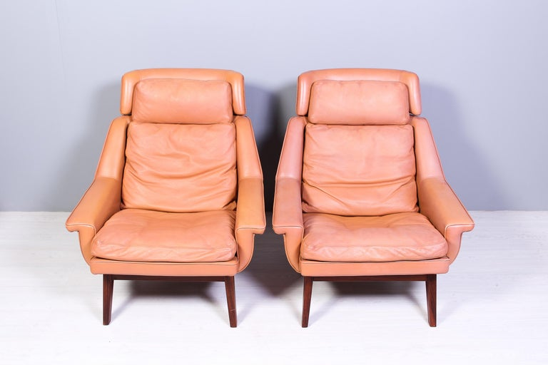 Leather & Rosewood Lounge Chairs and Ottoman by Werner Langenfled, Denmark 1960s In Good Condition For Sale In Malmo, SE