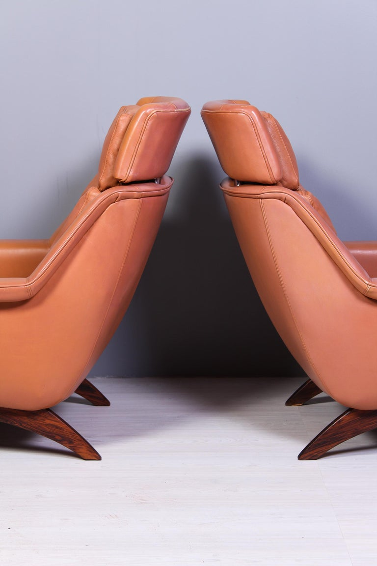 Mid-20th Century Leather & Rosewood Lounge Chairs and Ottoman by Werner Langenfled, Denmark 1960s For Sale