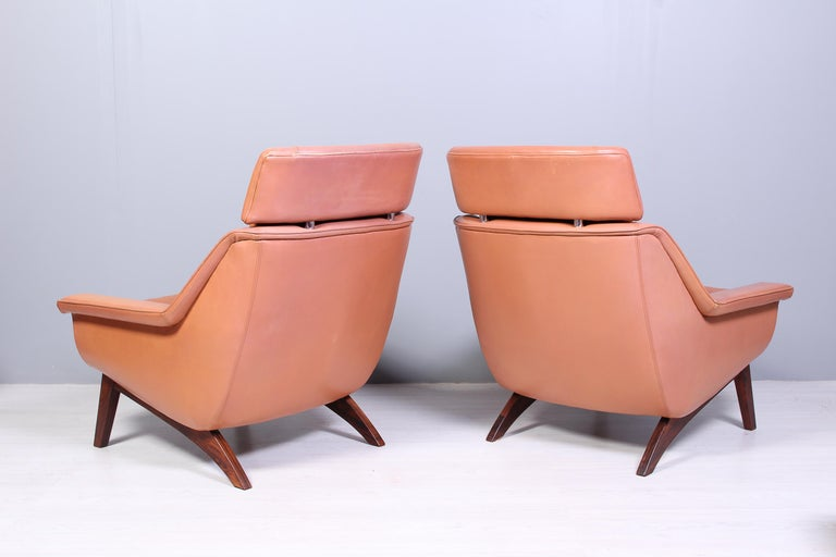 Leather & Rosewood Lounge Chairs and Ottoman by Werner Langenfled, Denmark 1960s For Sale 3