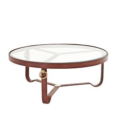 Leather Round Coffee Table with Antique Brass Finish