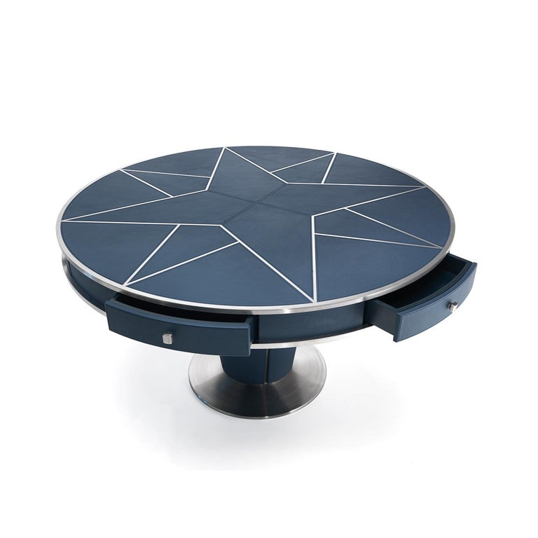 Modern Leather Round Dining Table For Sale