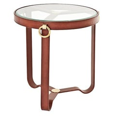 Leather Round Side Table with Antique Brass Finish