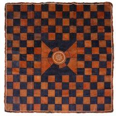 Leather Rug Black Brown Tuareg Carpet from Mauretania North African Patchwork