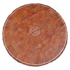 Leather Rug Brown Tuareg Carpet from Mauretania North African Round