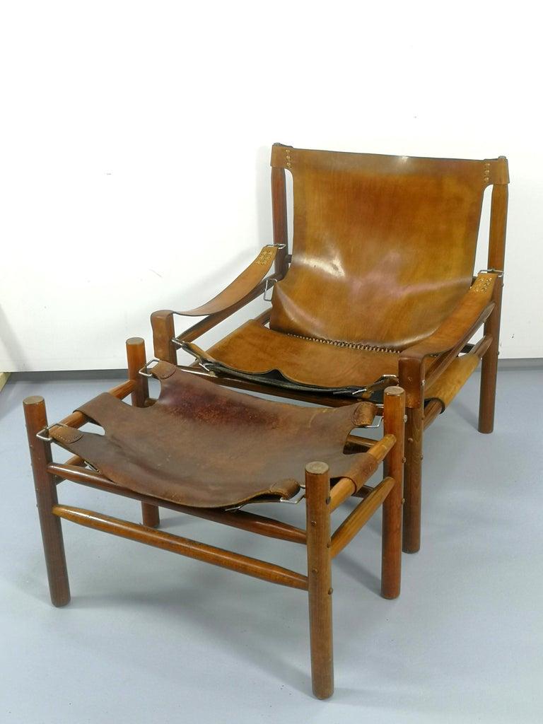 Leather Safari Armchair, 1970s For Sale 9