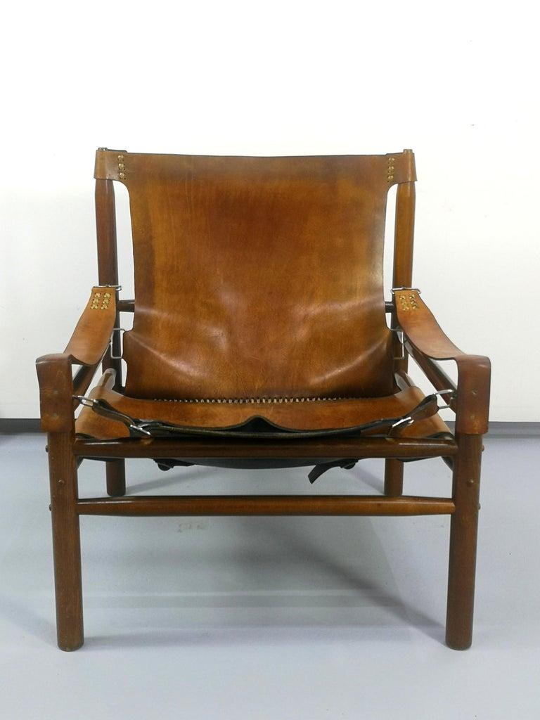 Mid-Century Modern Leather Safari Armchair, 1970s For Sale