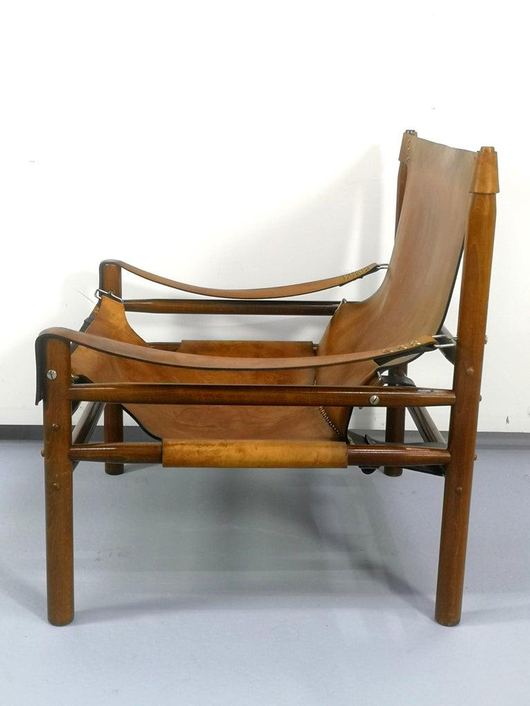 European Leather Safari Armchair, 1970s For Sale