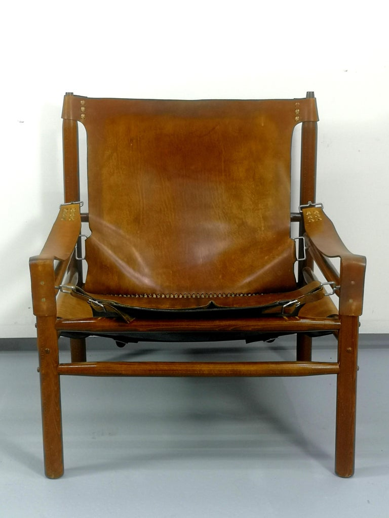Leather Safari Armchair, 1970s In Good Condition For Sale In Budapest, HU