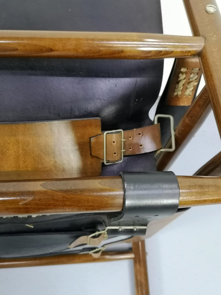 Late 20th Century Leather Safari Armchair, 1970s For Sale