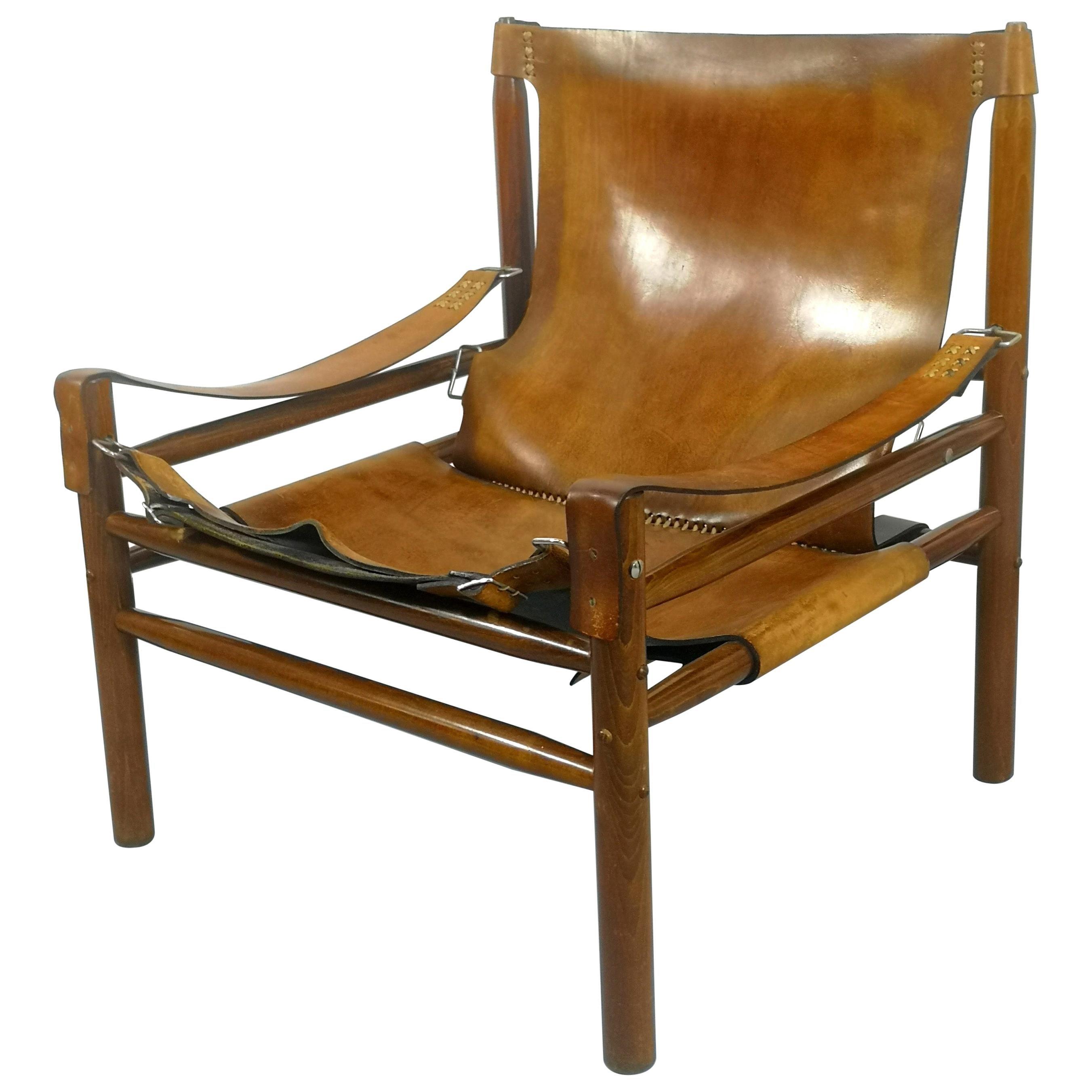 Leather Safari Armchair, 1970s