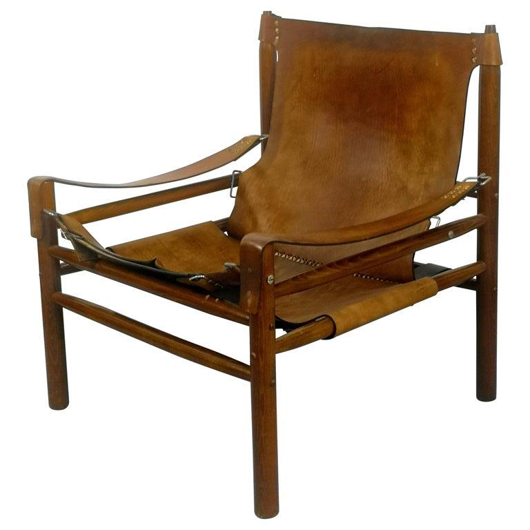 Leather Safari Armchair, 1970s For Sale