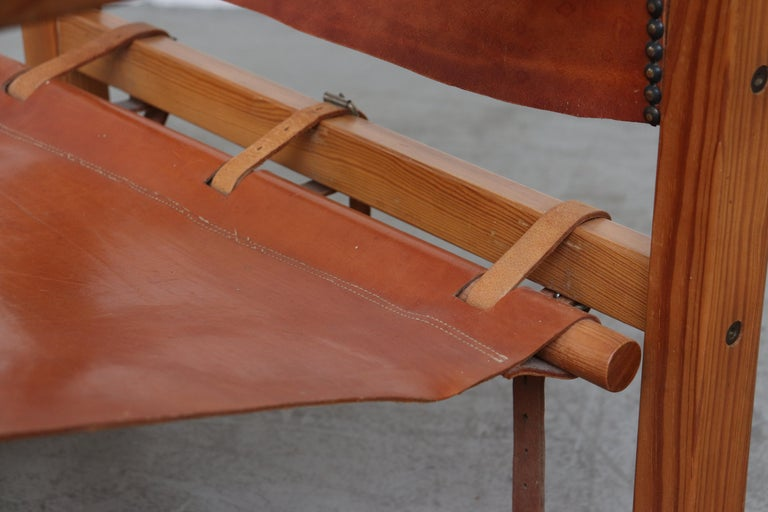 Leather Safari Style Lounge Chair For Sale 4