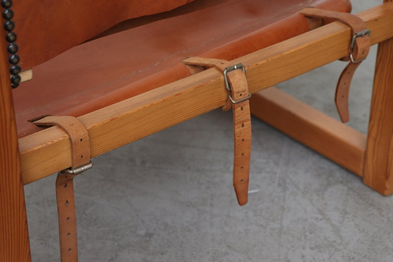 Leather Safari Style Lounge Chair For Sale 5