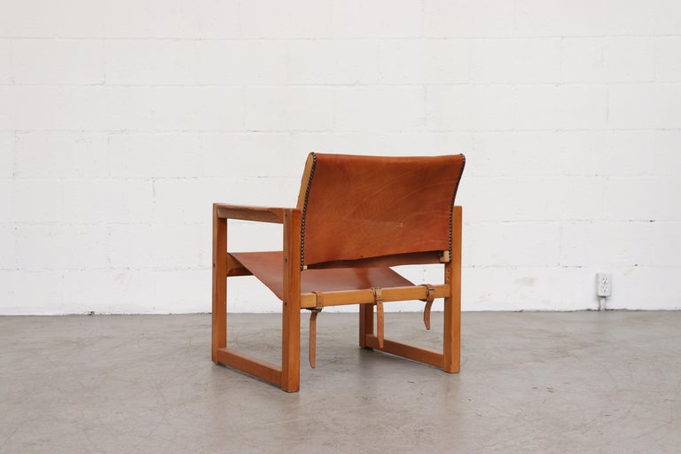 Dutch Leather Safari Style Lounge Chair For Sale