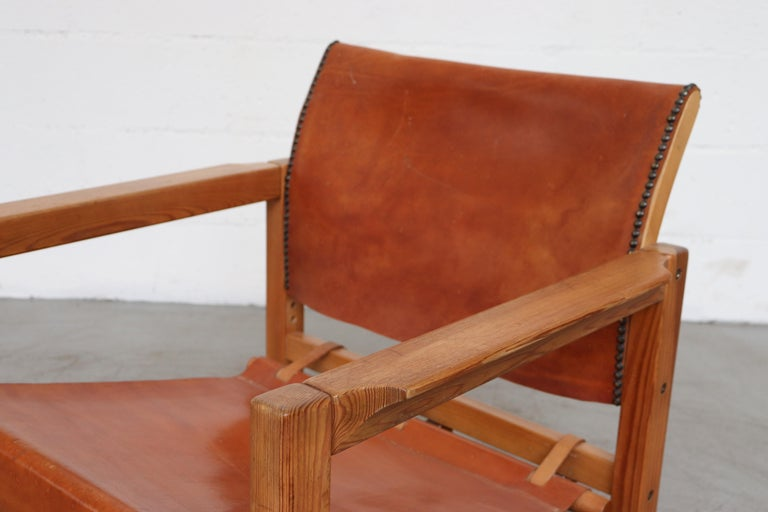 Late 20th Century Leather Safari Style Lounge Chair For Sale