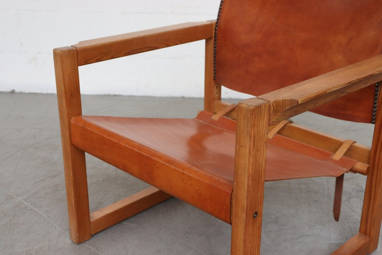 Leather Safari Style Lounge Chair For Sale 1