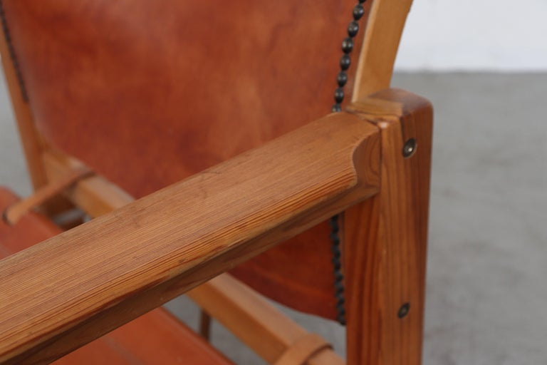 Leather Safari Style Lounge Chair For Sale 3