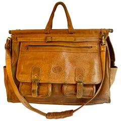 Leather Shoulder Duffle Style Bag with Brass Supports