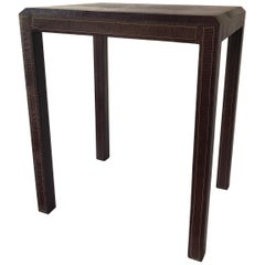 Leather Side Table with Lizard Embossing