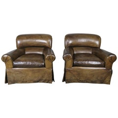 Leather Skirted Club Swivel Armchairs, Pair