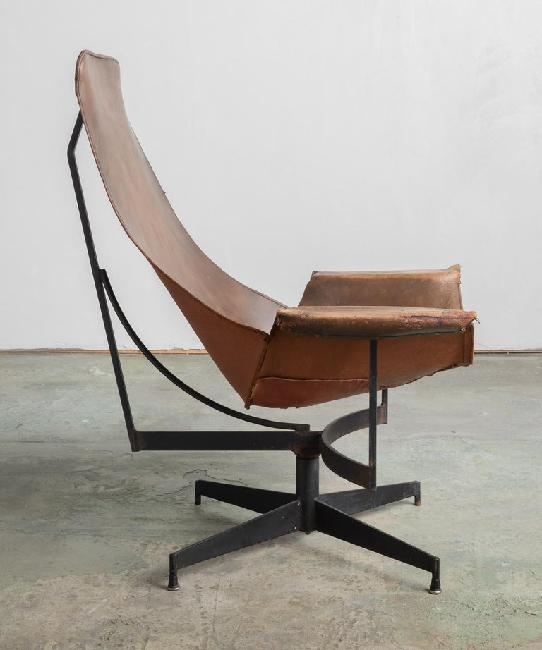 Mid-Century Modern Leather Sling Chair by William Katavolos, Germany, circa 1950 For Sale