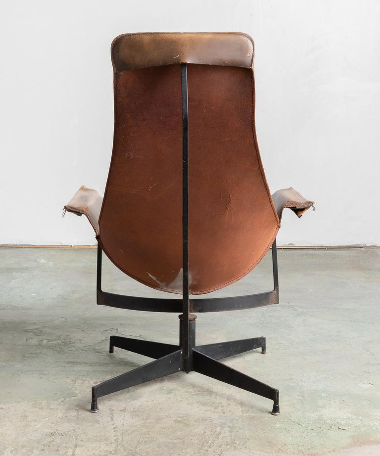 American Leather Sling Chair by William Katavolos, Germany, circa 1950 For Sale