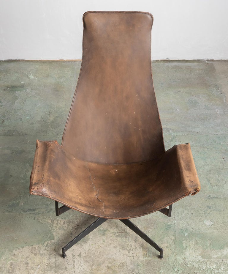 Leather Sling Chair by William Katavolos, Germany, circa 1950 In Good Condition For Sale In Culver City, CA