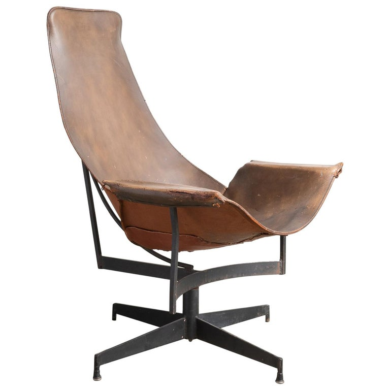 Leather Sling Chair by William Katavolos, Germany, circa 1950 For Sale