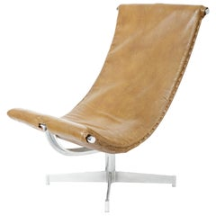 Leather Sling Chair with Chrome Base