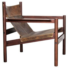 Leather Sling Lounge Chair by Michel Arnoult
