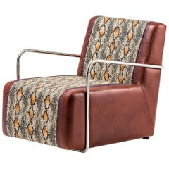 Leather and Snake Skin Vinyl Smoking Lounge Chair by Egg Designs