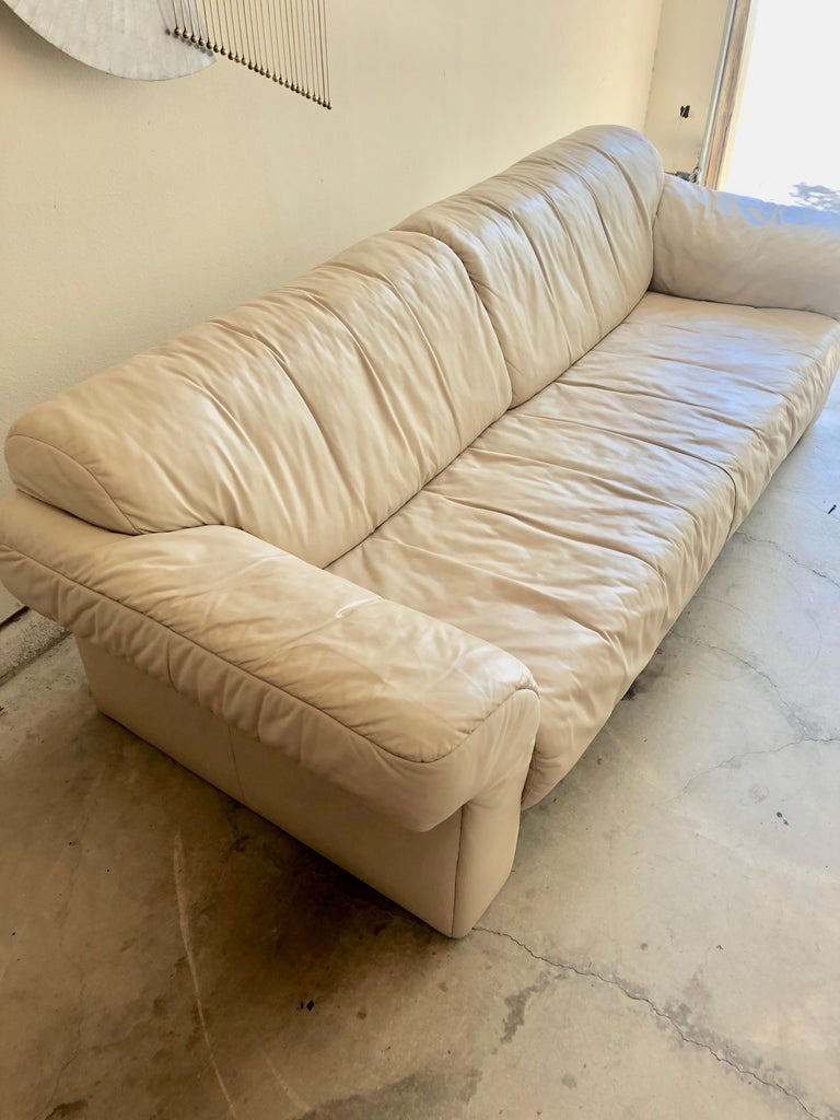 German Leather Sofa by WK Möbel For Sale