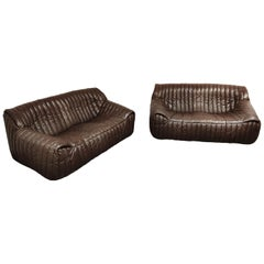 Leather Sofas by Annie Hieronimus for Cinna, 1970s, Set of 2