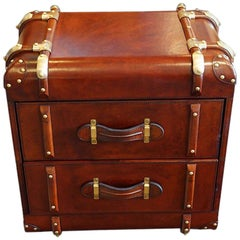 Leather 'Steamer Trunk' Bedside Chest