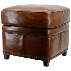 Leather Stool Bench, 1970s Design