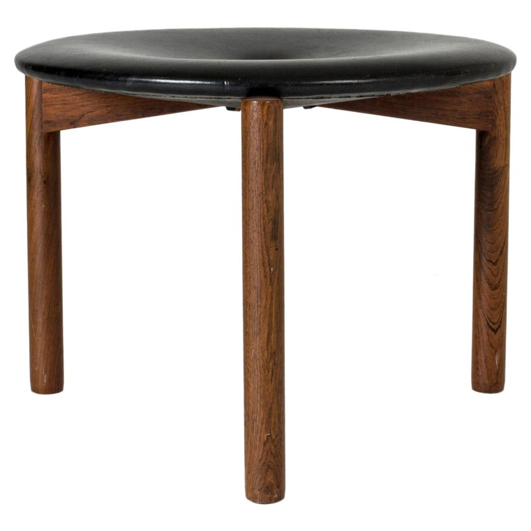 Leather Stool by Uno & Östen Kristiansson For Sale