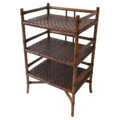 Storage Étagère with Leather Weaved Shelves