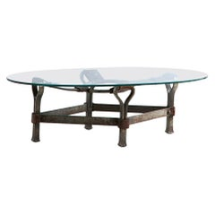 Leather Strap and Metal Coffee Table with Glass Top