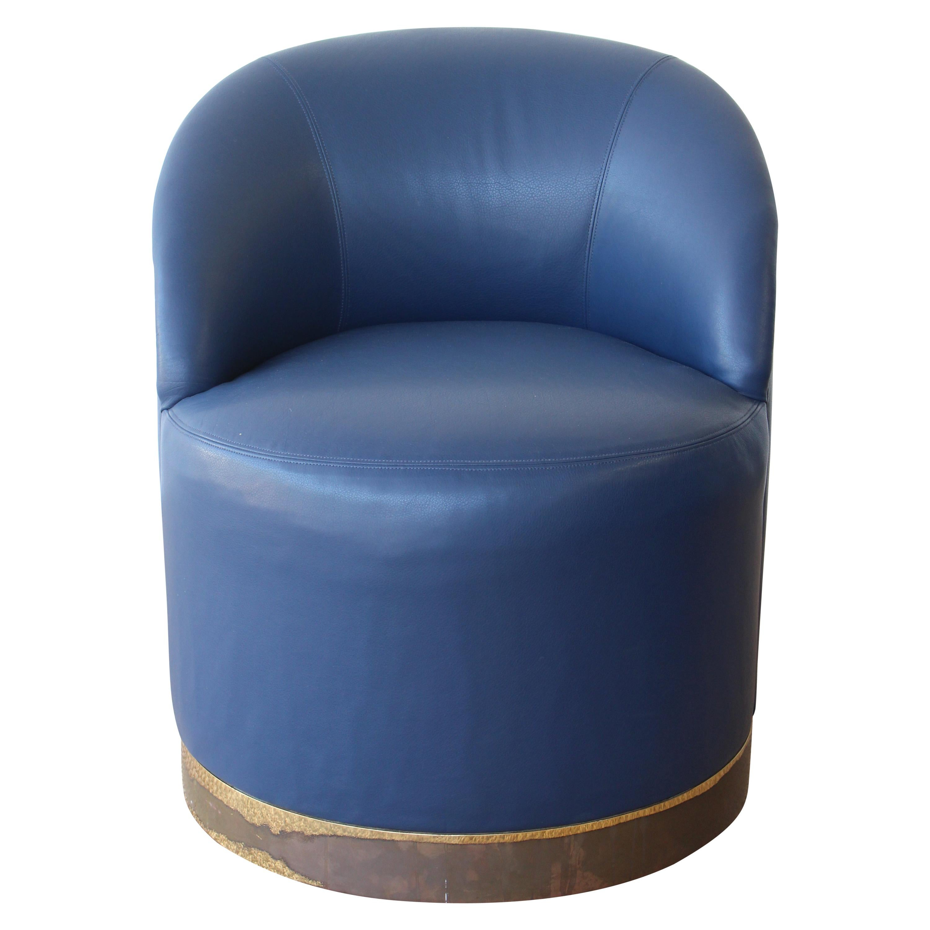 Leather Swivel Chair by Karl Springer, U.S.A, 1970s, Pair Available.
