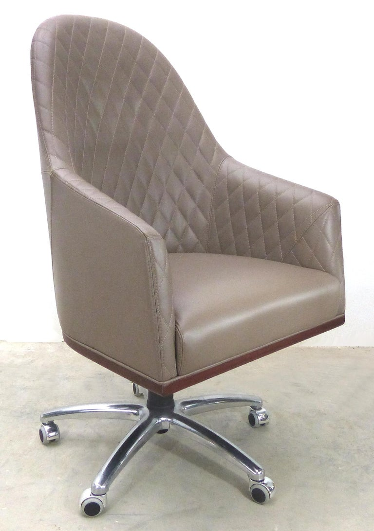 Modern Leather Swivel Desk Chair by Umberto Asnago for Medea Mobiledia, Italy For Sale
