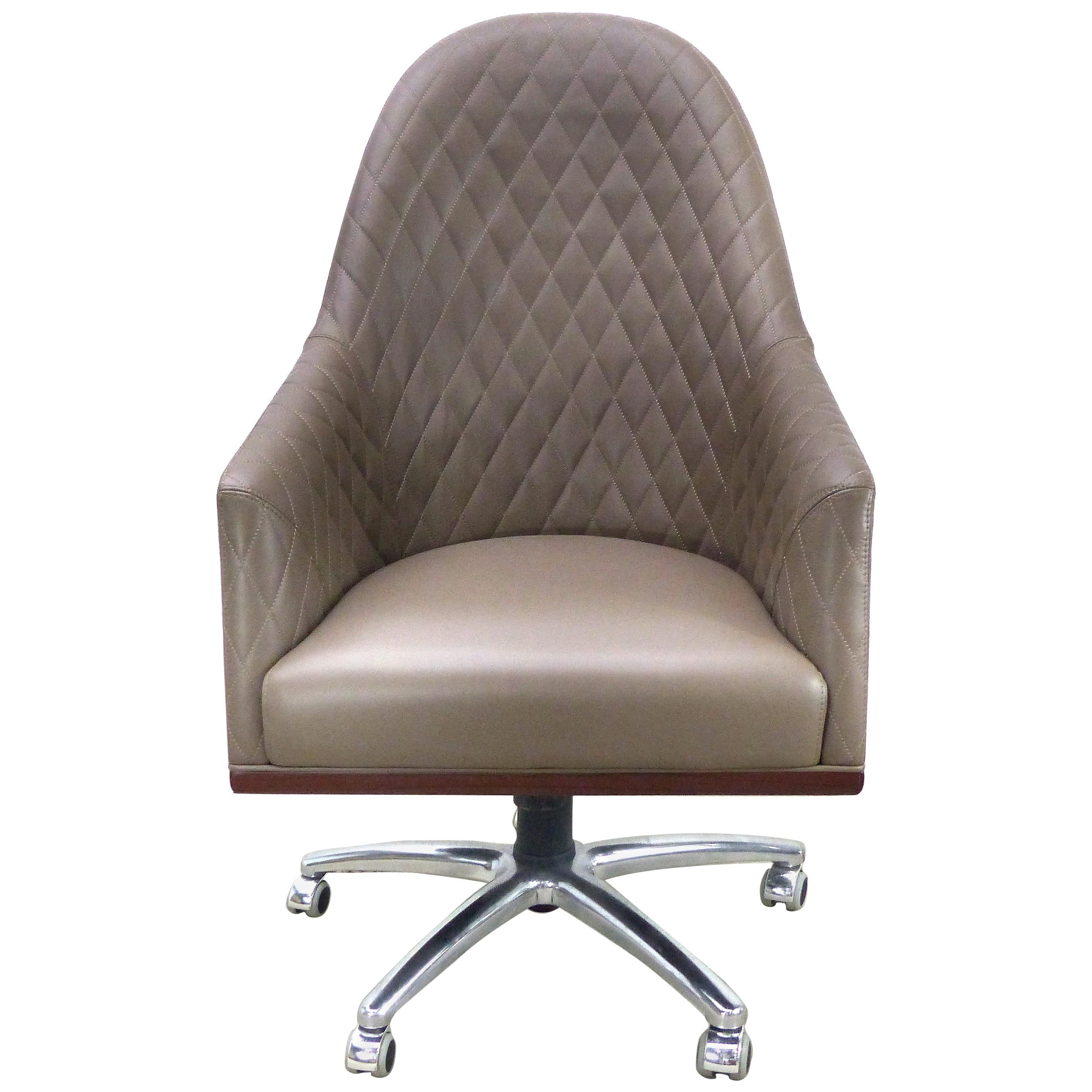 Leather Swivel Desk Chair by Umberto Asnago for Medea Mobiledia, Italy