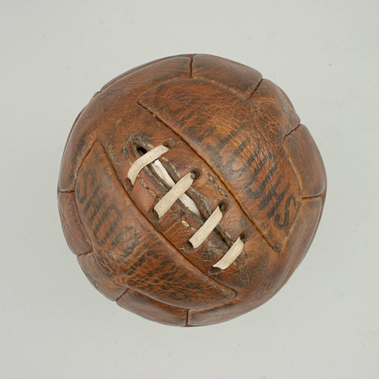 English Leather T Pattern Miniature Football For Sale