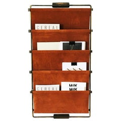 Leather Tall Magazine Rack by Charlotte Besson-Oberlin