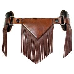 Leather - Tassel Fringe Belt - RARE - One-Off Piece - Adjustable Buckle Fasten