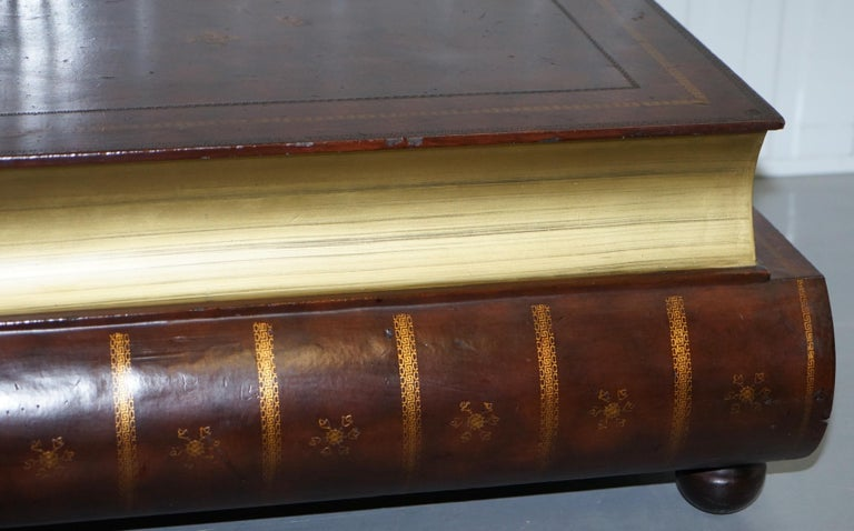 Leather Theodore Alexander Faux Scholars Books Large Coffee Table with Drawers For Sale 3
